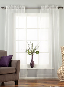White - Rod Pocket Sheer Tissue Curtain Panel Drape - Piece
