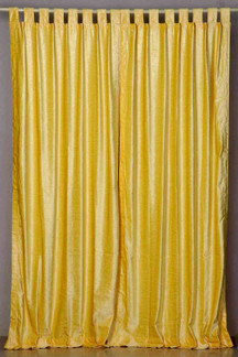 Yellow Tab Top  Velvet Curtain / Drape / Panel  - Piece