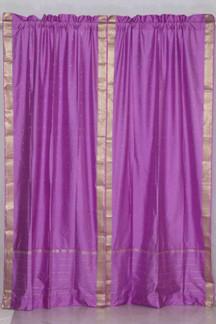 Lavender Rod Pocket  Sheer Sari Curtain / Drape / Panel  - Pair