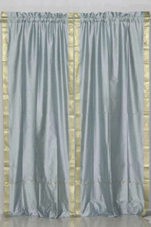Gray Rod Pocket  Sheer Sari Curtain / Drape / Panel  - Pair