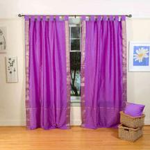 Indo Lavender Tab Top Sari Sheer Curtain (43 in. x 84 in.)