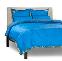 Blue - 5 Piece Handmade Sari Duvet Cover Set with Pillow Covers / Euro Sham