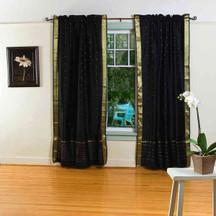 Black Rod Pocket  Sheer Sari Curtain / Drape / Panel  - Pair