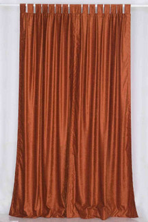 Rust Tab Top  Velvet Curtain / Drape / Panel  - Piece