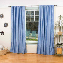 Light Blue Rod Pocket  Velvet Curtain / Drape / Panel  - Piece