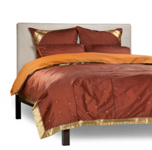 Brown - 5 Piece Handmade Sari Duvet Cover Set with Pillow Covers / Euro Sham