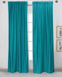 Turquoise Rod Pocket  Velvet Curtain / Drape / Panel  - Piece