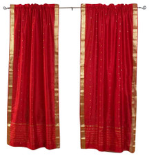 Fire Brick Rod Pocket  Sheer Sari Curtain / Drape / Panel  - Pair