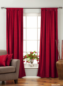 Burgundy Tab Top  Velvet Curtain / Drape / Panel  - Piece