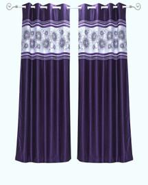 Purple Grommet Top Satin Curtain Panel Drape -Piece
