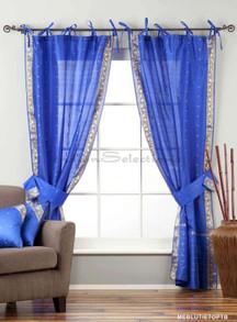 Indo  Blue Tie Top Sheer Sari Curtain Drape Panel 43x84 in w/ matching tieback