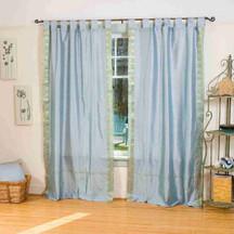 Gray  Tab Top  Sheer Sari Curtain / Drape / Panel   - 43W x 84L - Piece