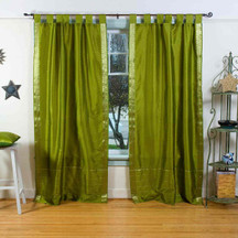 Olive Green  Tab Top  Sheer Sari Curtain / Drape / Panel  - Piece