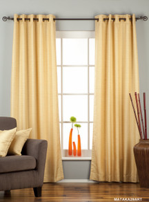 Golden Ring Top Matka Raw Silk Curtain / Drape / Panel - Piece