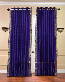 Purple Ring Top  Sheer Sari Curtain / Drape / Panel  - Piece