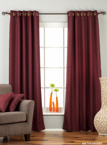 Dark Maroon Ring Top Matka Raw Silk Curtain / Drape / Panel - Piece