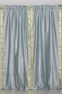 Gray Rod Pocket  Sheer Sari Curtain / Drape / Panel  - Piece