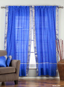 Enchanting Blue Rod Pocket  Sheer Sari Curtain / Drape / Panel  - Piece