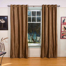 Taupe Ring / Grommet Top  Velvet Curtain / Drape / Panel  - Piece