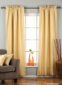 Golden Rod Pocket Matka Raw Silk Curtain / Drape / Panel - Piece
