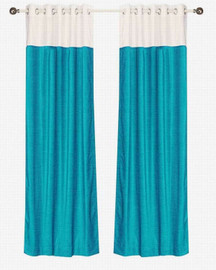 Signature Turquoise and white ring top velvet Curtain Panel - Piece