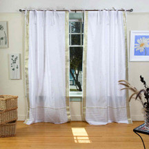 White with Gold  Tie Top  Sheer Sari Curtain / Drape / Panel  - Piece