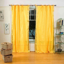 Yellow  Tie Top  Sheer Sari Curtain / Drape / Panel  - Pair