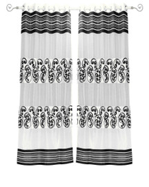 White Black Ring Top Tissue Curtain Panel Drape -Piece