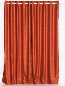 Rust Ring / Grommet Top  Velvet Curtain / Drape / Panel  - Piece