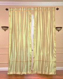 Golden Ring Top  Sheer Sari Curtain / Drape / Panel  - Piece
