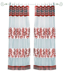 White Maroon Ring Top Tissue Curtain Panel Drape -Piece