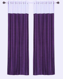 Signature Purple and White ring top velvet Curtain Panel - Piece