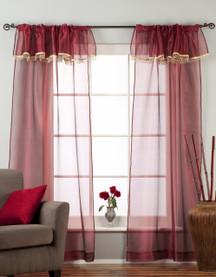 Maroon - Rod Pocket Sheer Tissue Curtain with Beaded Valance Panel Drape - Piece