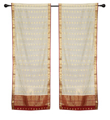 2 Cream Bohemian Indian Sari Curtains Rod Pocket Living Room  Window Treatment