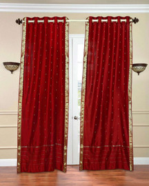 Red Ring Top  Sheer Sari Curtain / Drape / Panel  - Piece