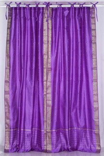Lavender  Tie Top  Sheer Sari Curtain / Drape / Panel  - Pair