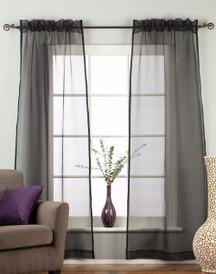 Black - Rod Pocket Sheer Tissue Curtain Panel Drape - Piece
