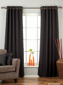 Black Ring Top Matka Raw Silk Curtain / Drape / Panel - Piece