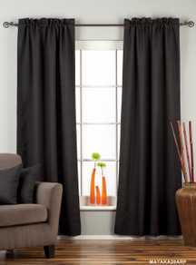 Black Rod Pocket Matka Raw Silk Curtain / Drape / Panel - Piece