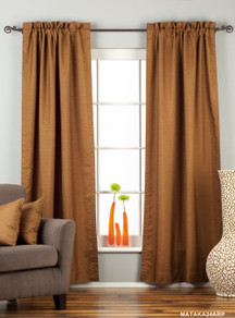 Brown Rod Pocket Matka Raw Silk Curtain / Drape / Panel - Piece