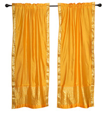 2 Boho Yellow Indian Sari Curtains Rod Pocket Window Panels Drapes