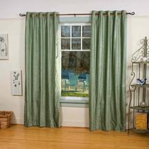 Olive Green Ring / Grommet Top  Velvet Curtain / Drape / Panel  - Piece