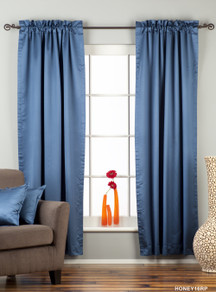 Blue Rod Pocket 90% blackout Curtain / Drape / Panel  - Piece