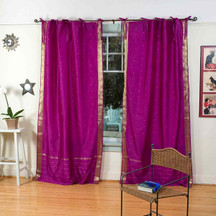 Violet Red  Tie Top  Sheer Sari Curtain / Drape / Panel  - Pair
