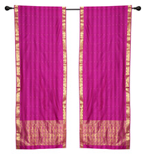 2 Boho Red Purple Indian Sari Curtains Rod Pocket Window Panels Drapes