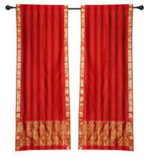 2 Boho Red Indian Sari Curtains Rod Pocket Window Panels Drapes