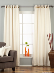 Cream Ring Top Matka Raw Silk Curtain / Drape / Panel - Piece