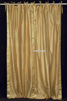 Golden  Tie Top  Sheer Sari Curtain / Drape / Panel  - Pair
