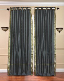 Dark Grey Ring Top  Sheer Sari Curtain / Drape / Panel  - Piece