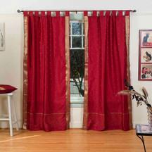 Maroon  Tab Top  Sheer Sari Curtain / Drape / Panel  - Pair